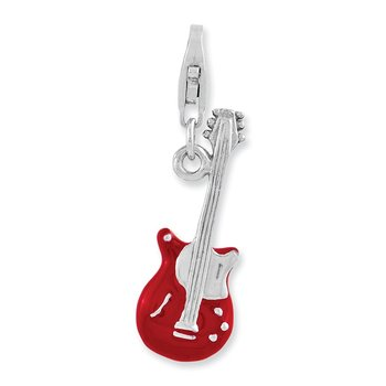 Sterling Silver Rhodium-plated 3-D Enameled Peace Guitar w/Lobster Clasp Ch