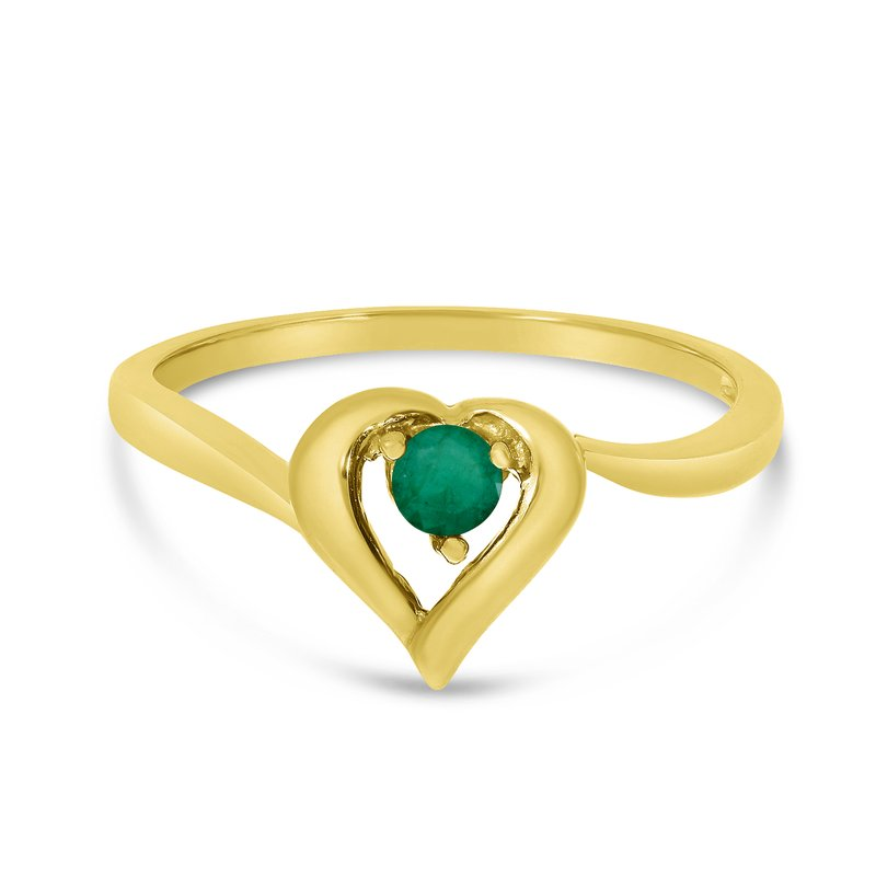 Color Merchants 14k Yellow Gold Round Emerald Heart Ring
