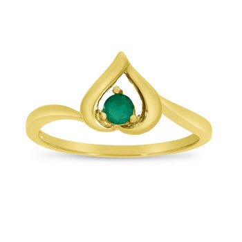 14k Yellow Gold Round Emerald Heart Ring