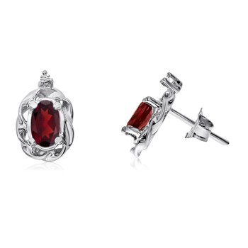 14k White Gold Garnet Scroll Diamond Earrings