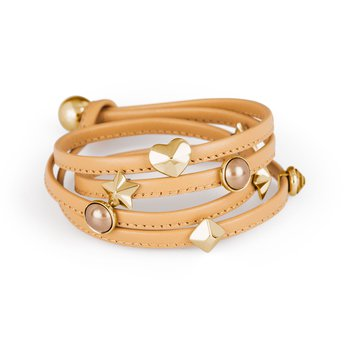 Bracelet. Natural leather, 316L stainless steel elements, gold pvd and Swarovski® Elements stones