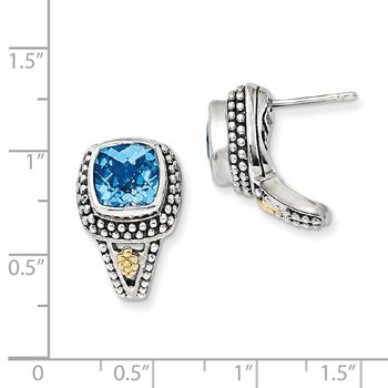 Sterling Silver w/14k Antiqued Blue Topaz Post Earrings