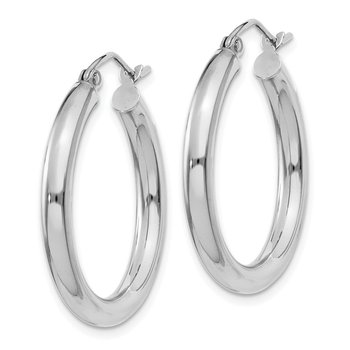 10K White Gold Polished 3mm Tube Hoop Earrings