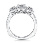 Valina Bridals Three stone halo mounting 1.40 tw., 5/8 ct. round center.