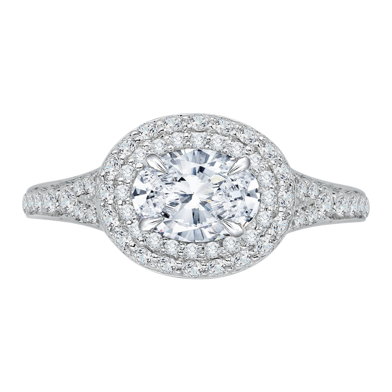 Carizza Oval Diamond Double Halo Engagement Ring with Split Shank In 14K White Gold (Semi-Mount)