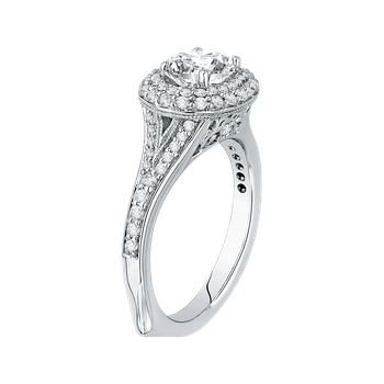 Oval Diamond Double Halo Engagement Ring with Split Shank In 14K White Gold (Semi-Mount)