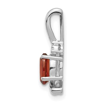 14k White Gold Garnet and Diamond Pendant