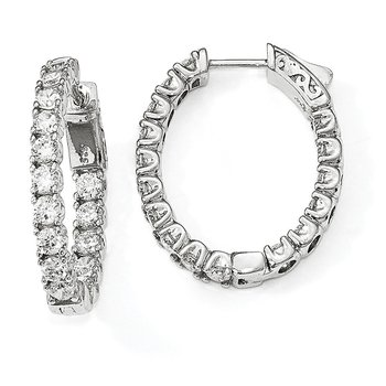 Sterling Silver Rhodium-plated CZ In & Out Oval Hoop Earrings