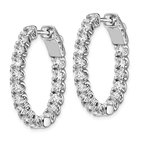Quality Gold Sterling Silver Rhodium-plated CZ In & Out Oval Hoop Earrings