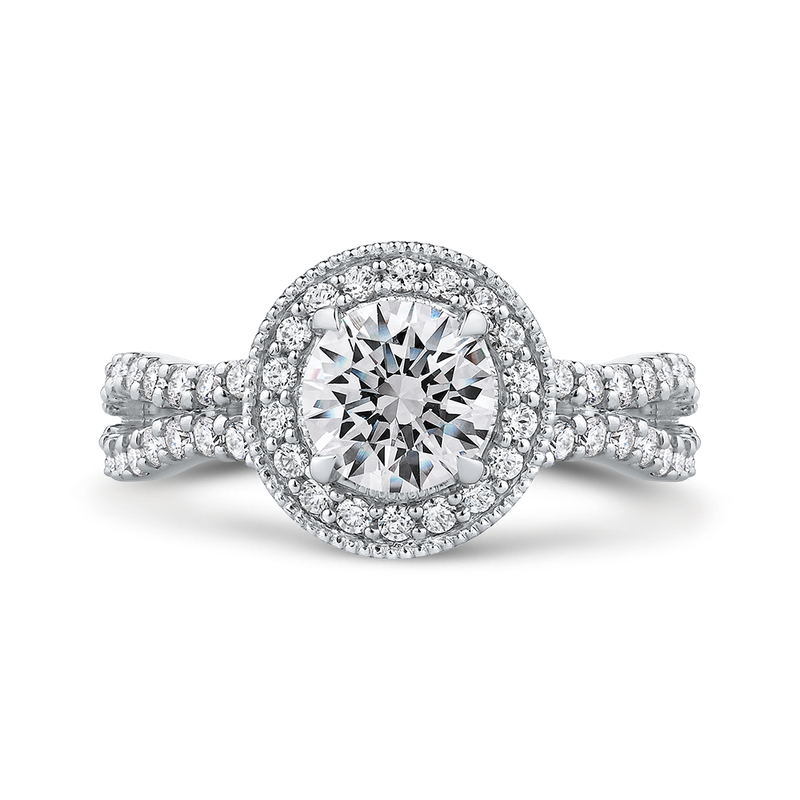 18K White Gold Round Diamond Halo Engagement Ring with Split Shank (Semi-Mount)