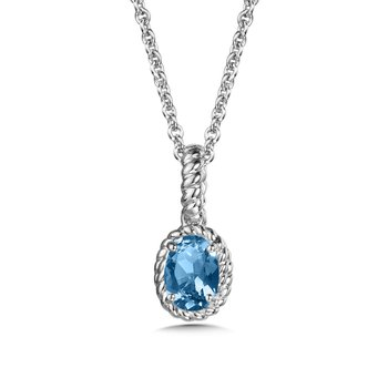 Blue Topaz Pendant in Sterling Silver
