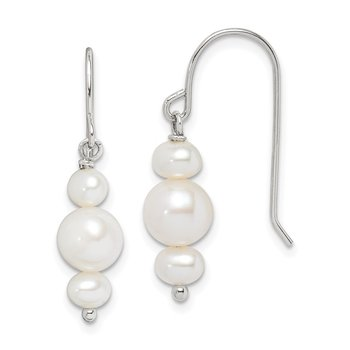 Sterling Silver White Freshwater Cultured Pearl Dangle Earrings