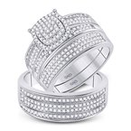 Kingdom Treasures 10kt White Gold His & Hers Round Diamond Cluster Matching Bridal Wedding Ring Band Set 5/8 Cttw