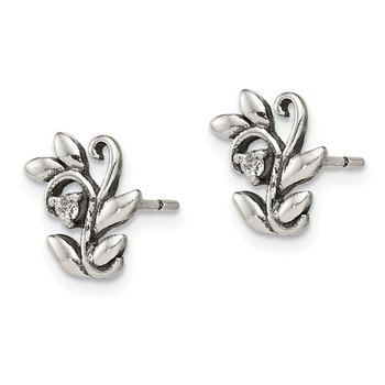 Sterling Silver Polished and Antiqued CZ Flower Post Earrings