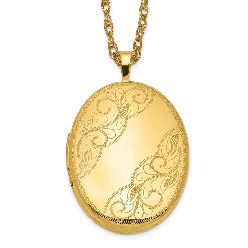 Quality Gold 1/20 Gold Filled 26mm Swirled Oval Locket Necklace