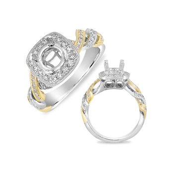 White & Yellow Pave Halo RIng
