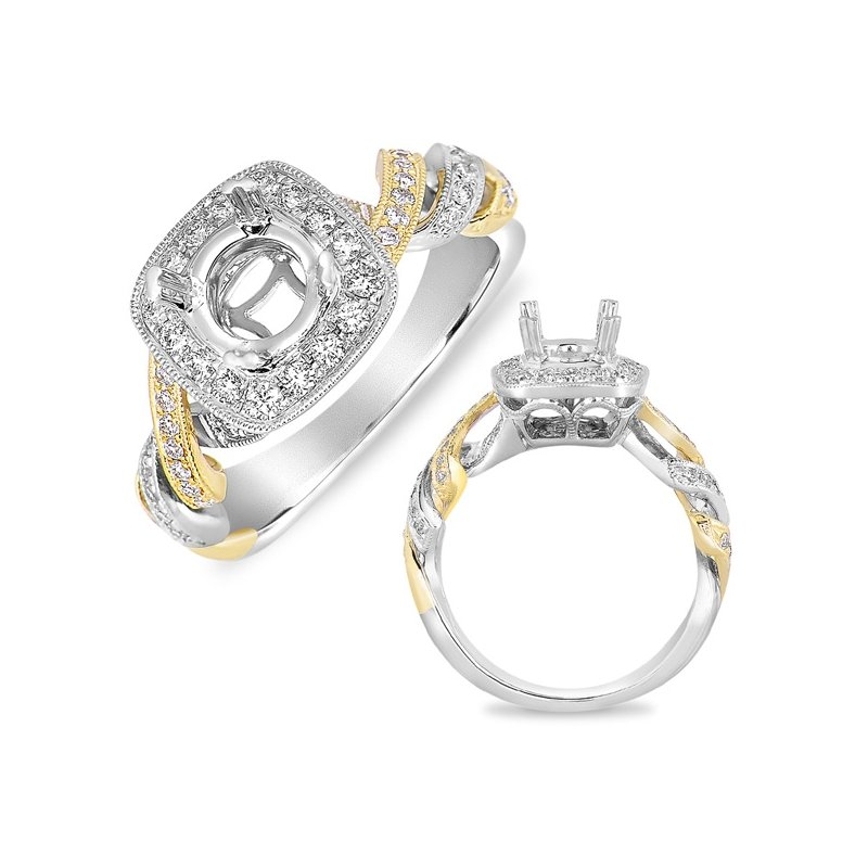 S. Kashi  & Sons White & Yellow Pave Halo RIng