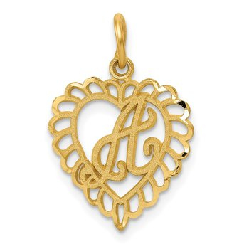 14k Heart Letter A Charm