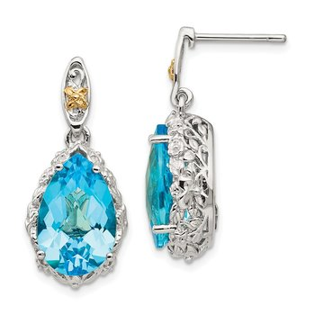 Sterling Silver w/14k Blue Topaz Post Dangle Earrings
