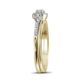10k Yellow Gold Womens Round Diamond Slender Wedding Bridal Engagement Ring Band Set 1/3 Cttw