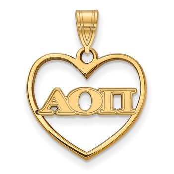 Gold-Plated Sterling Silver Alpha Omicron Pi Greek Life Pendant