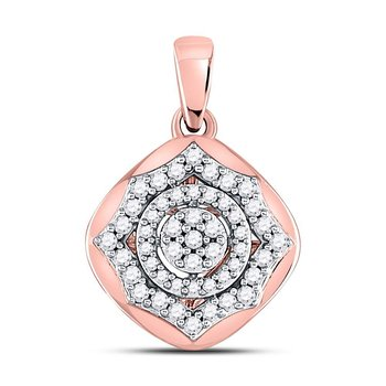 10kt Rose Gold Womens Round Diamond Cluster Pendant 1/5 Cttw