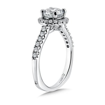 Classic Elegance Collection Halo Engagement Ring with Side Stones in 14K White Gold with Platinum Head (1ct. tw.)