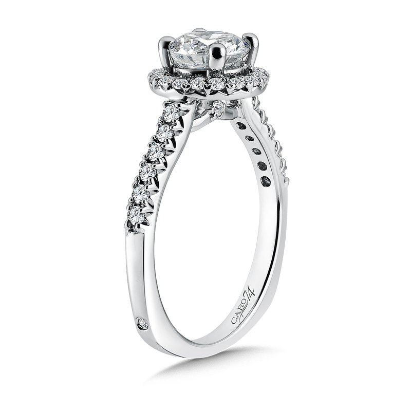 Caro74 Classic Elegance Collection Halo Engagement Ring with Side Stones in 14K White Gold with Platinum Head (1ct. tw.)