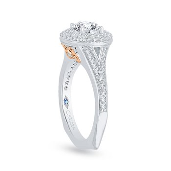 14K Two-Tone Gold Round Diamond Double Halo Engagement Ring with Split Shank (Semi-Mount)
