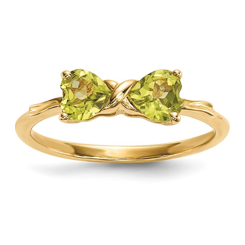 Quality Gold 14k Gold Polished Peridot Bow Ring