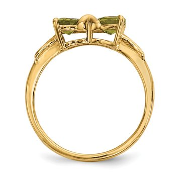 14k Gold Polished Peridot Bow Ring