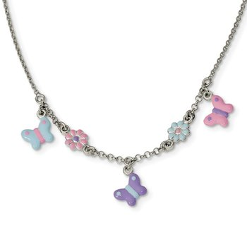 Sterling Silver Polished Enameled Floral & Butterfly Necklace