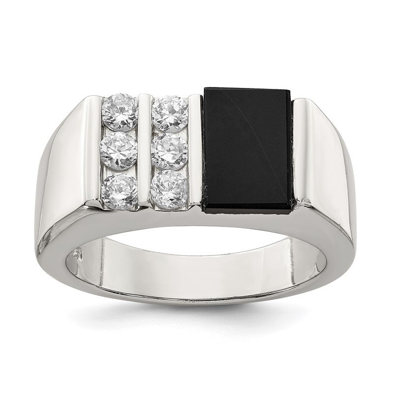 Arizona Diamond Center Collection Sterling Silver Men's CZ and Onyx Ring
