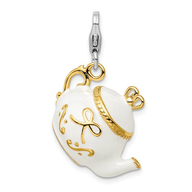 Quality Gold Sterling Silver Amore La Vita Rhod-pl Gold-plated Enameled Tea Pot Charm