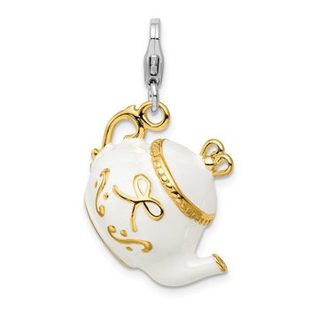 Sterling Silver Amore La Vita Rhod-pl Gold-plated Enameled Tea Pot Charm