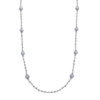 "Honora Sterling Silver 8-9mm Gray Ringed Freshwater Cultured Pearl Faceted Labradorite Bead Tin Cup 36"" Necklace"