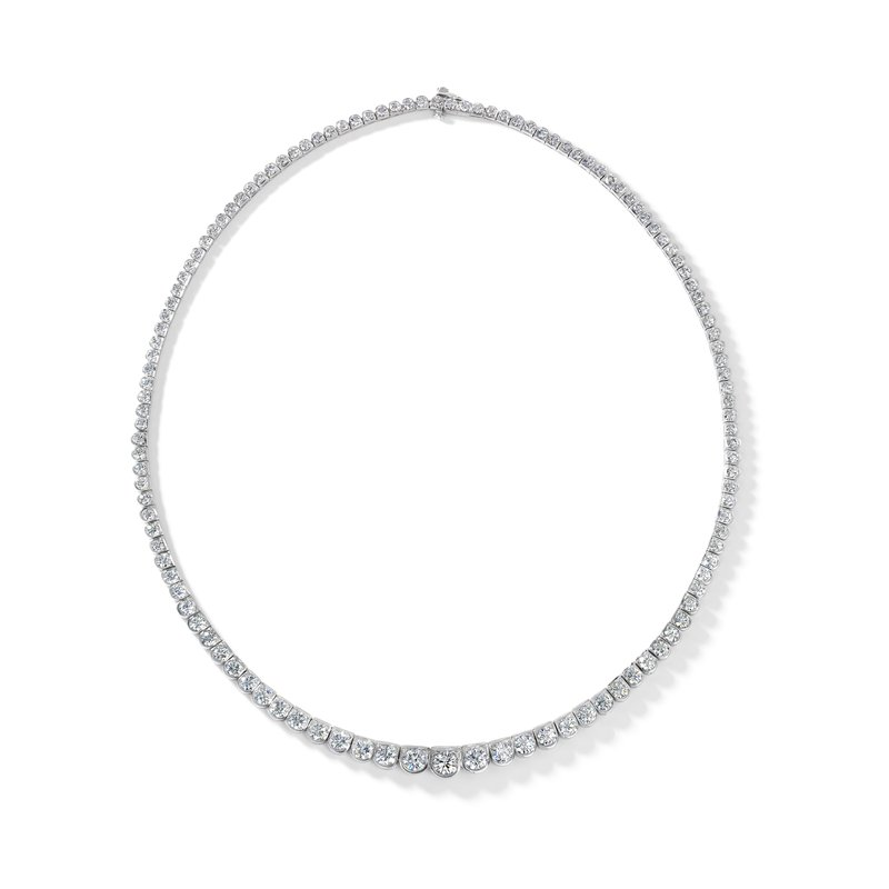 Oscar Heyman Platinum Scalloped Diamond Necklace