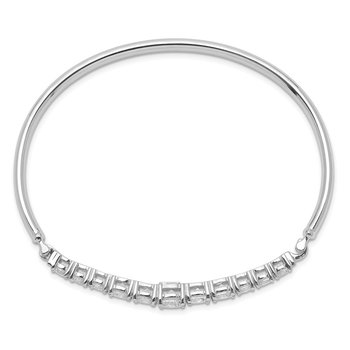 Sterling Silver Rhodium-plated Graduated CZ Hinged Bangle