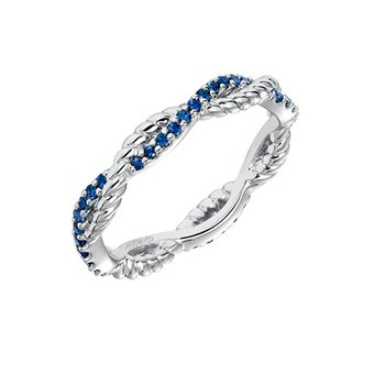 14K White Gold Rope Sapphire Wedding Band