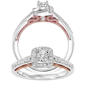 14K Diamond Engagement Ring 1/7 ctw with 1/4 ct Center