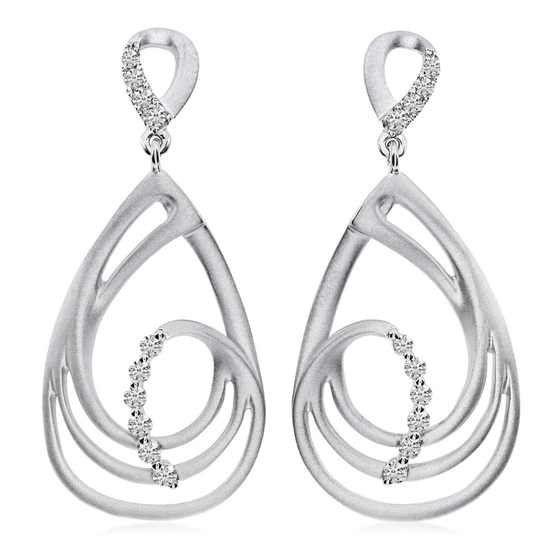 14K White Gold Satin Teardrop Diamond Earrings
