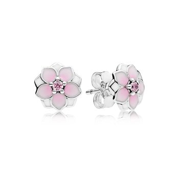Magnolia Bloom Stud Earrings, Pale Cerise Enamel Pink Cz