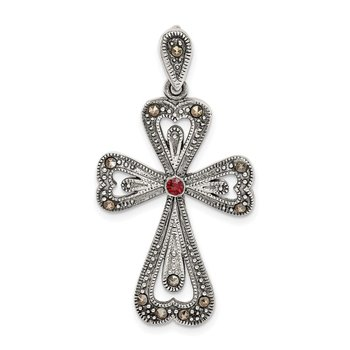 Sterling Silver Antiqued Marcasite & Garnet Cross Pendant