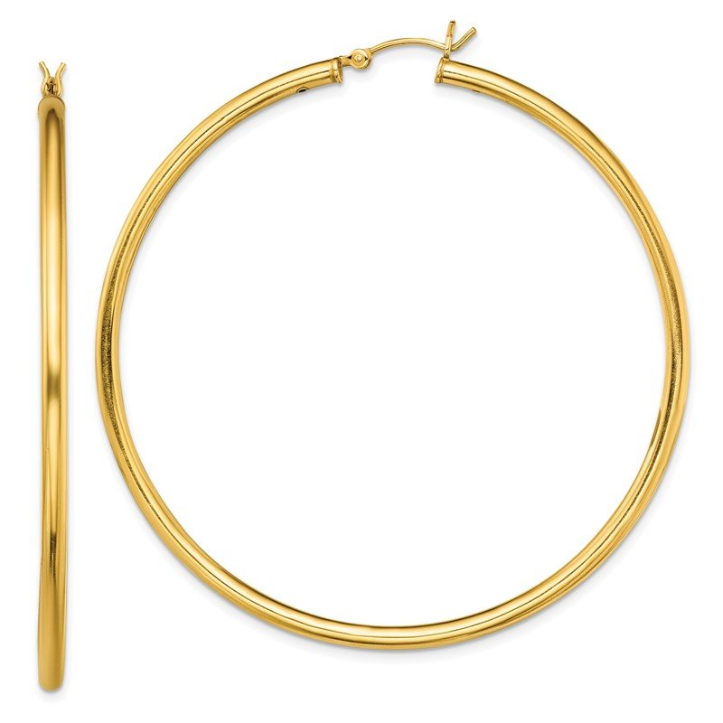 Quality Gold Sterling Silver Gold-Tone Polished 2.5x60mm Hoop Earrings