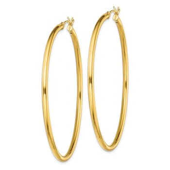 Sterling Silver Gold-Tone Polished 2.5x60mm Hoop Earrings