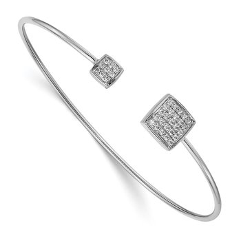 14k White Gold Diamond Squares Flexible Cuff Bangle