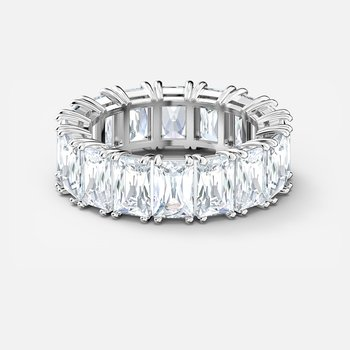 Vittore Wide Ring, White, Rhodium plated