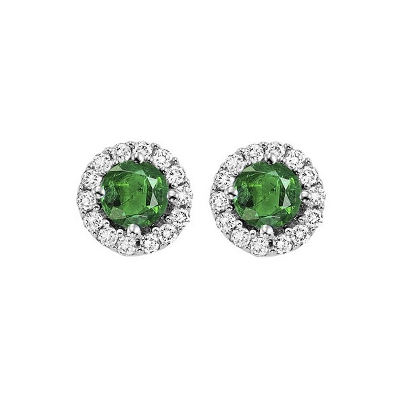 Round Emerald & Diamond Halo Stud Earrings in 14K White Gold (1/7 ct. tw.)