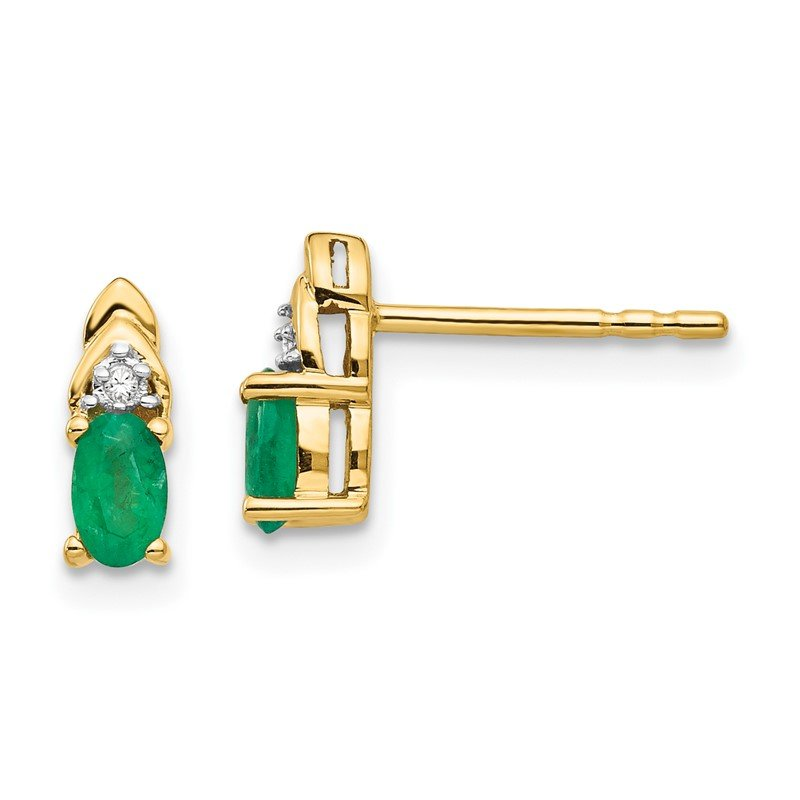 Quality Gold 14k Emerald and Diamond Earrings