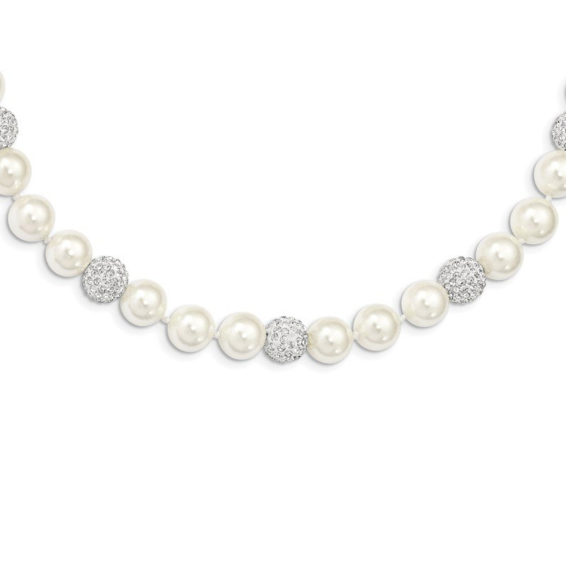 Fine Jewelry by JBD Sterling Silver Majestik Rhod-plated 10-11mm Shell Crystal Necklace